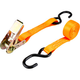 CAMPZ Ratchet Belt with Double S-Hook 2,5cm x 2m, orange